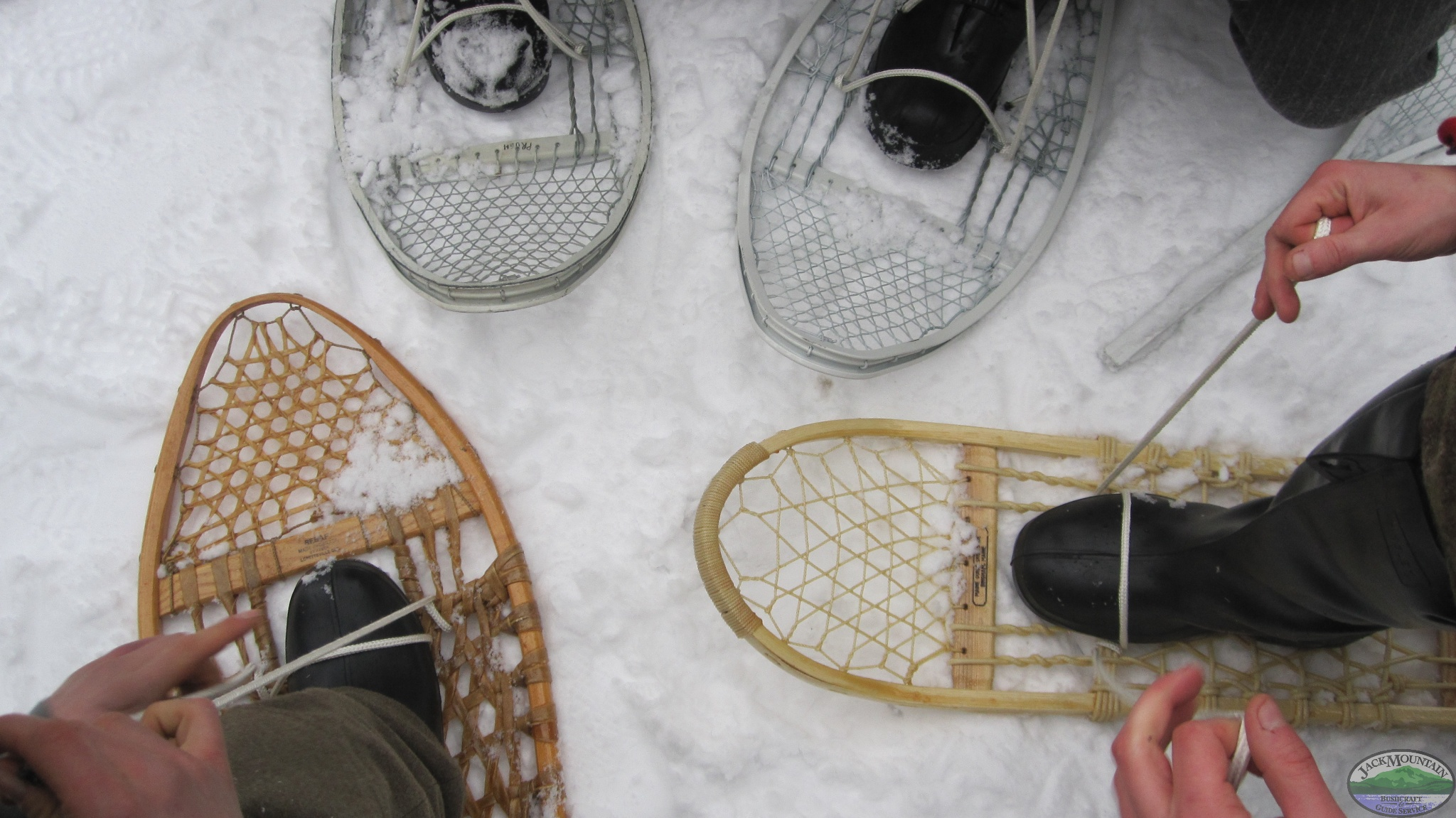 Tying Snowshoes On